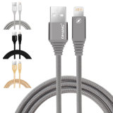 2.1A het nylon vlechtte de Snelle Kabel van usb- Gegevens voor Ios van de Bliksem (grijze) iPhone