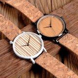 Reloj de madera de bambú de la venda del cuero genuino del reloj de madera natural unisex