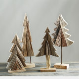 100% decoraciones de madera naturales hechas a mano de madera creativa de la Navidad del regalo de día de fiesta de la decoración del hogar/de la oficina/del departamento del arte del árbol de navidad