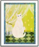ホームのための木製フレームが付いている優雅で白い猫のダイヤモンドの芸術の絵画