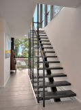 Escalera/escala de madera con el pasamano del cable del acero inoxidable/las escaleras al aire libre