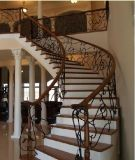 Escaliers droits extérieurs préfabriqués de fer travaillé de prix concurrentiels