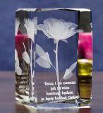 De Kubus van het Glas van het kristal met Clipper Concer met 3D Gravure van de Laser