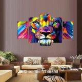 Grosser Größen-Auszugs-Wohnzimmer-Wand-Dekor-druckte bunter Wand-Kunst-Abbildung-Dekor Löwe-König Painting auf Segeltuch-Kunst-Druck