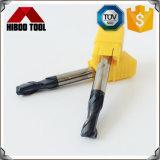 Long coupeur de fraisage de radius de coin de carbure de haute précision avec 2 cannelures