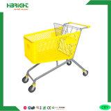 Base de metal cesto plástico Carrinho de carrinho de compras