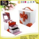 Коробка ювелирных изделий PU классицистического розового пакета магазина кожаный