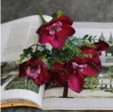 Fornitori BRITANNICI del fiore dell'orchidea di disposizioni dei centri dei fiori artificiali della visualizzazione artificiale viola di seta BRITANNICA artificiale dell'orchidea