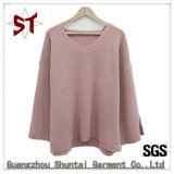Maglione di collo rotondo lavorato a maglia poco costoso semplice di modo delle signore all'ingrosso grande