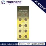 1.5V AG12/Lr43 0.00% 수성 판매를 위한 자유로운 알칼리성 단추 세포 건전지