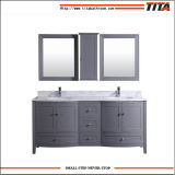 Gabinete de banheiro ereto livre de madeira com armazenamento e espelho