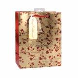 花模様のブラウンの方法洋品店のギフトの紙袋