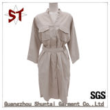 longue jupe de Shirrt de V-Collier extérieur des loisirs 100%Polyester avec la courroie pour des femmes