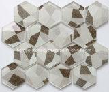 Cuarto de baño hexagonal de inyección de tinta de color gris de la pared de vidrio baldosa mosaico esmaltada