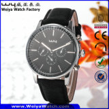 Reloj ocasional de las señoras del cuarzo de la correa de cuero (Wy-081A)