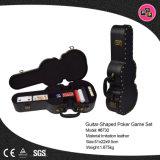 Novo Design Preto Forma de guitarra PU Leather Caixa de armazenamento para os conjuntos de jogo de pôquer (8730)