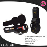 Novo design da caixa de armazenamento de couro de formato de guitarra para conjuntos de póquer (8730)