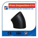 Coude de JIS B2311 garnitures de pipe en acier de noir de 45 degrés