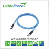 Mâle de codage du câble M12 8pin X de Profinet au connecteur protégé par IEM de femelle avec le câble moulé