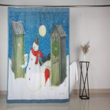 Resistente al moho Navidad muñeco de nieve de poliéster las cortinas de ducha de diseño de impresión
