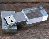 주문을 받아서 만들어진 3D 로고 사진술 투명한 결정 USB 기억 장치 지팡이