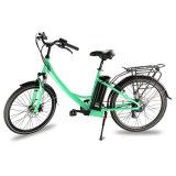 Bicicleta elétrica do motor do cubo com a bateria de lítio da câmara de ar do assento