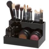 Organizador de maquillaje de acrílico de color negro con soporte de escobilla