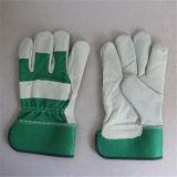 De groene Volledige Palm die van het Leer van de Koe Gespleten handschoen-3056.04 werken