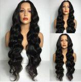 Новейшие долго фигурные кружева передней Wig кривой синтетических Wig черного цвета волос человека в полной мере Wig для черный элегантная мебель (размер: черный)