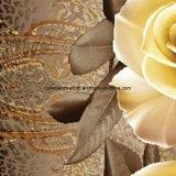 Disperse 100%Polyester золотистый Rose 3D напечатал ткань для комплекта постельных принадлежностей