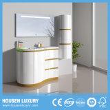 LED com novo design curvo de PVC de luxo de ouro Banho Floor-Standing Sanitária Cabinet HS-Q1108-1000