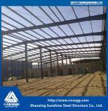 鋼鉄の梁、倉庫のためのガードが付いているプレハブの軽い鉄骨構造の構築