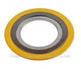 黄色いカラー外のリングの上塗を施してある螺線形の傷のガスケット