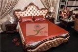 El color marrón rojizo en relieve de la esquina de cuero suave Colchoneta