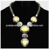 "Joyería de moda de verano/ 2013 Gran corazón collares gemas /Forma de Corazón Collar Colgante de resina amarillo Cyrstal cordones (""PN-108)"