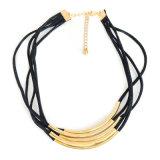 De zwarte Bundel van het Leer om de Halsbanden van de Nauwsluitende halsketting van de Buis voor Vrouwen