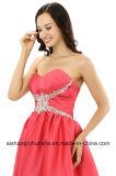 Aラインの恋人の不足分の小型サテンによって玉を付けられる水晶のカクテルのプロムの服