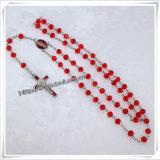 Il rosario di legno semplice borda la collana trasversale di stile (IO-cr244)