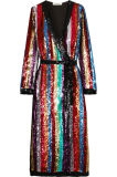 Vestido Sequined listrado benevolência do envoltório de Georgette da alta qualidade para mulheres
