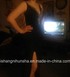 Encolure en V Lovemay perlage partie prom robes de soirée robe longue noir
