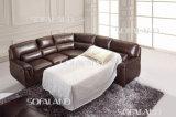 Marrón Color de Tela esquina de cuero Sofá cama