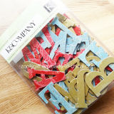 3D Met de hand gemaakte Die-Cut Alfabet/de Brief schittert de Stickers van de Ambacht van het Document van het Karton