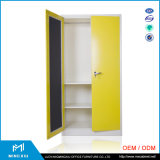 China Manufacturer Hanging Clothes Storage Cabinet 2 Door Steel Locker Wardrobe mit Mirror