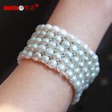 5 Juwelen van de Armband van de Parel van het Muntstuk van rijen de Elastische Echte voor Dame