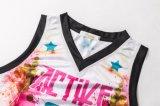 Basket-ball Jersey de dames d'aperçu gratuit de vêtements de sport de sublimation de teinture de Healong