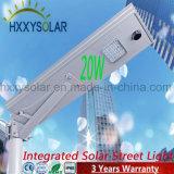 20W LED da bateria de lítio integrada a luz solar de Rua