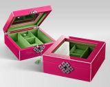 Tuch-Ring-Juwel-Kasten, hölzerner Aufbewahrungsbehälter, Papierhalsketten-Kasten, Münzen-Geschenk-Kasten, lederner Schmucksache-Kasten, Uhr-Kasten (002)