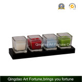quadratischer Glaswürfel des vasen-22oz für Kerze-Glas