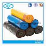 Sac d'ordures en plastique personnalisé par LLDPE de cordon d'impression de LDPE de HDPE