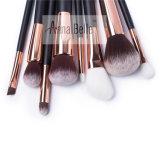 Conjunto de cepillo profesional del maquillaje con el bolso de cuero